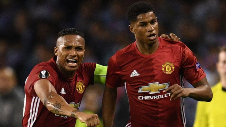Marcus Rashford free-kick gives Man United away goal lead