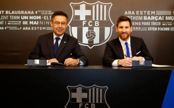 Lionel Messi extends contract with FC Barcelona to 2021