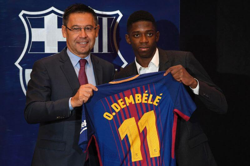 Barca fans call for Bartomeu resignation at Dembele unveiling