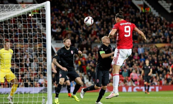 Zlatan header wins first Europa League match for United
