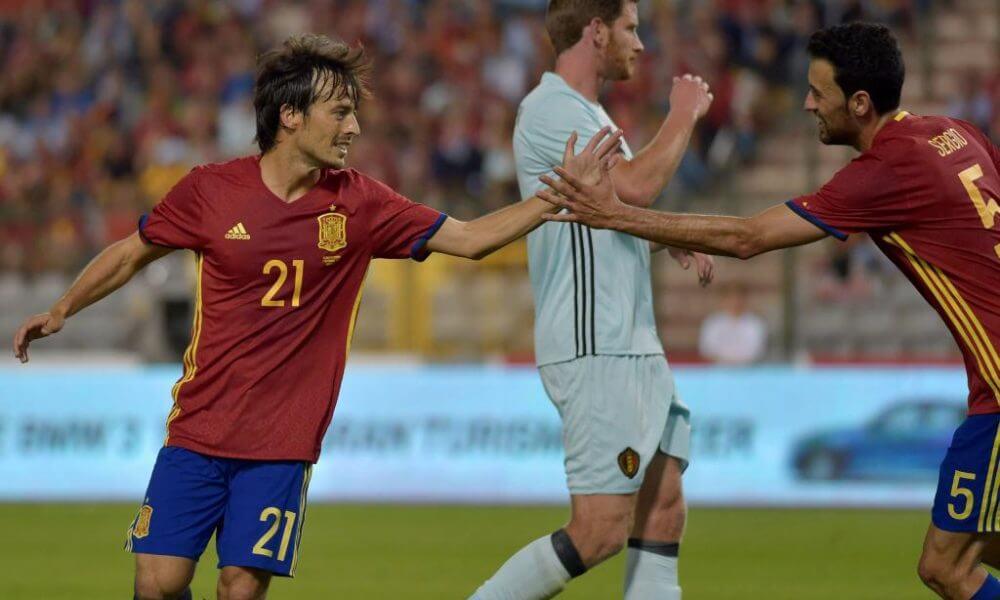 David Silva brace earns Spain friendly victory over Belgium